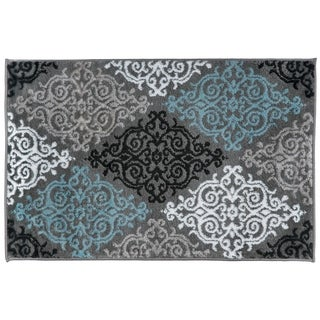 Modern Transitional Soft Damask Grey Area Rug - 2' x 3'