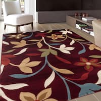 Modern Contemporary Leaves Design Burgundy Area Rug - 2' x 3'