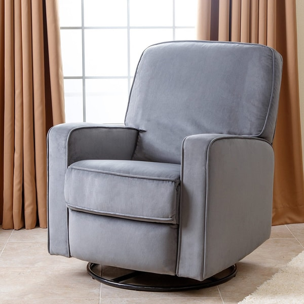 Abbyson Bella Steel Grey Fabric Swivel Glider Recliner Chair