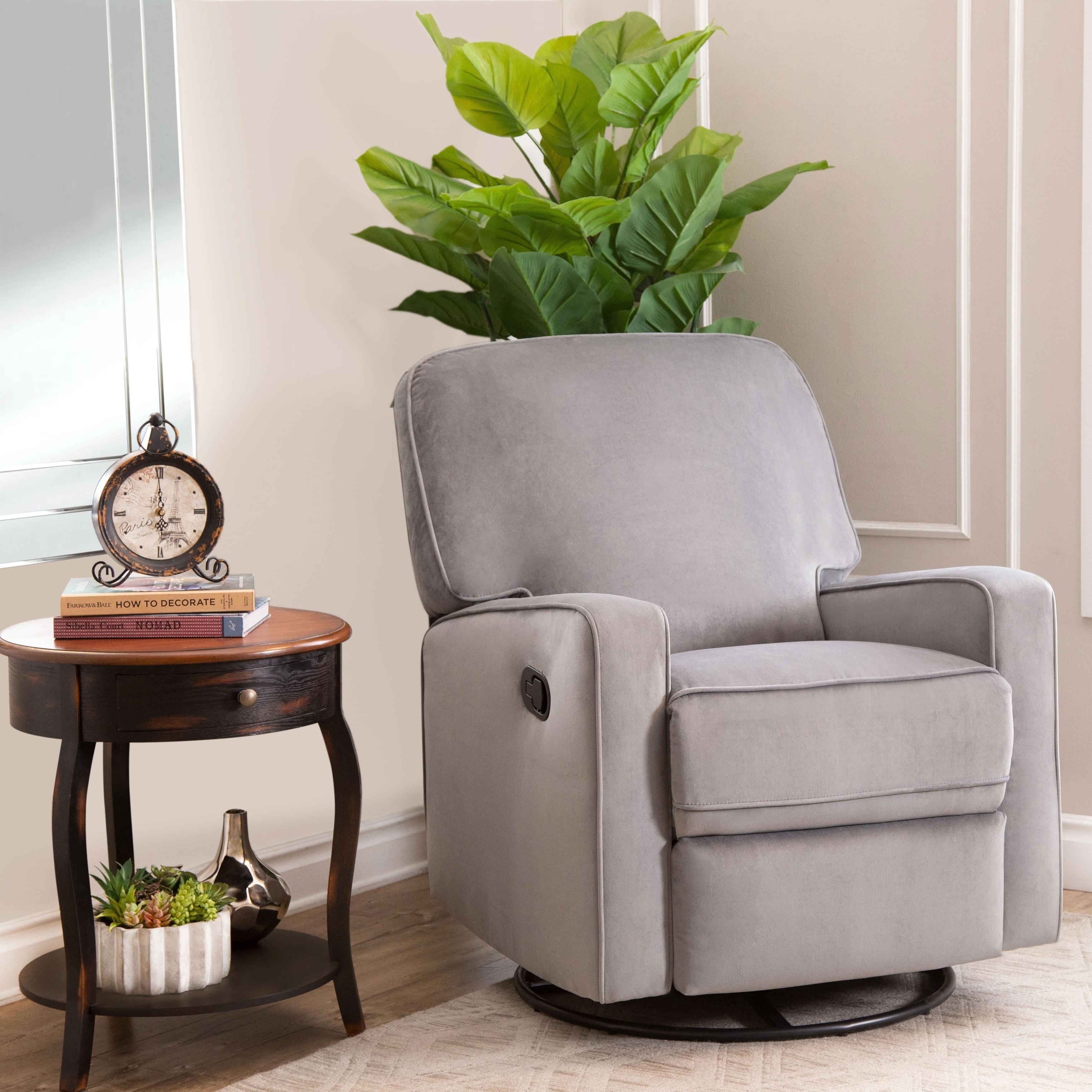 Pleasant Abbyson Bella Grey Fabric Swivel Glider Recliner Chair Machost Co Dining Chair Design Ideas Machostcouk