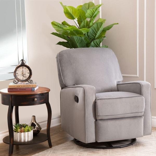 Abbyson Bella Grey Fabric Swivel Glider Recliner Chair