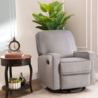 Abbyson Bella Grey Fabric Swivel Glider Recliner Chair