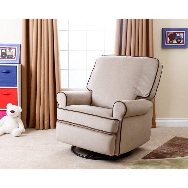 Abbyson Bentley Sand Fabric Swivel Glider Recliner Chair