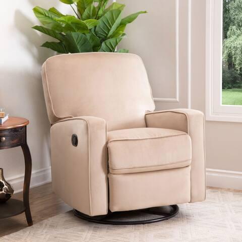 Abbyson Bella Beige Fabric Swivel Glider Recliner Chair