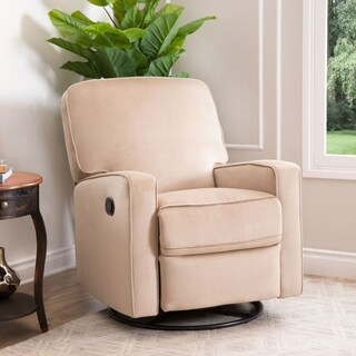 Abbyson Bella Beige Fabric Swivel Glider Recliner Chair