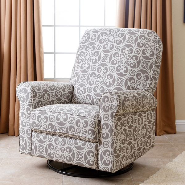 Abbyson Perth Grey Fabric And Wood Floral Swivel Glider