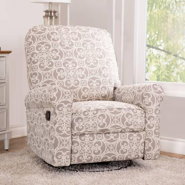 Prime Shop Abbyson Perth Grey Floral Fabric Swivel Glider Recliner Machost Co Dining Chair Design Ideas Machostcouk