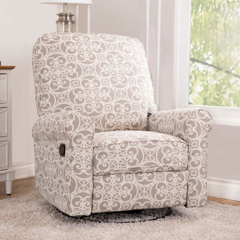 Abbyson Perth Grey Fabric and Wood Floral Swivel Glider Recliner Chair