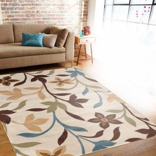 Modern Contemporary Leaves Design Cream Area Rug (2' x 3')