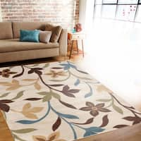 Modern Contemporary Leaves Design Cream Area Rug - 2' x 3'