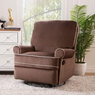 Abbyson Living Bentley Coffee Fabric Swivel Glider Recliner Chair
