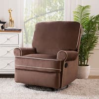 Abbyson Bentley Coffee Fabric Swivel Glider Recliner Chair