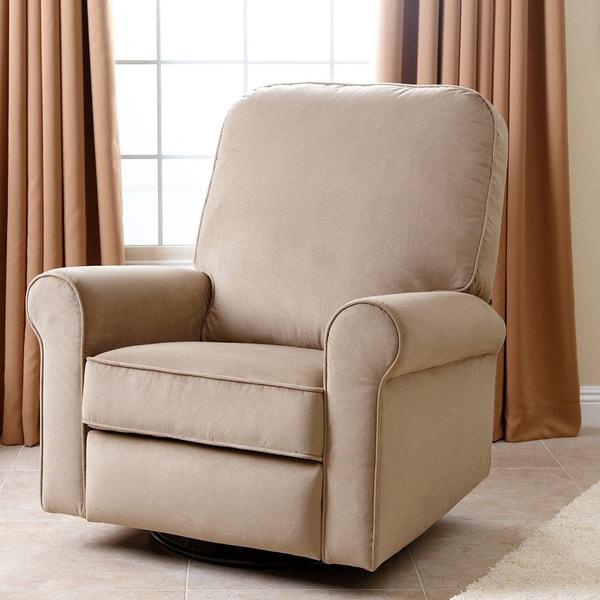 abbyson perth beige fabric swivel glider recliner chair