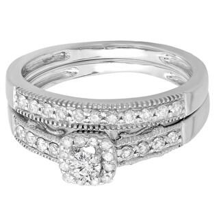 Elora 10k White Gold 1/2ct TDW Round Diamond Halo Bridal Ring Set (H-I, I1-I2)