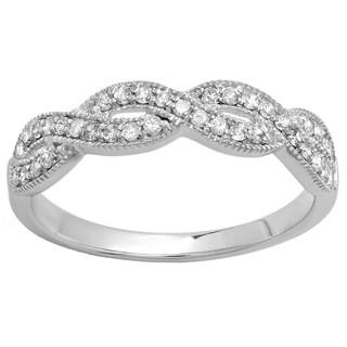 14k White Gold 1/3ct TDW Round Diamond Anniversary Stackable Swirl Ring (H-I, I1-I2)