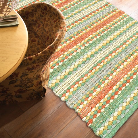 LR Home Hand Woven Altair Jade Multi Cotton Chindi Area Rug - jade/multi-color - 8' x 10'