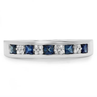 Elora 14k White Gold 1/2ct TDW Round and Princess-cut Diamond and Blue Sapphire Stackable Wedding Band (H-