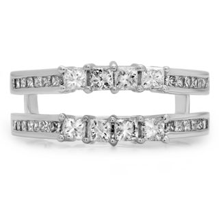 14k White Gold 1ct TDW Princess-cut Diamond Wedding Band Enhancer Ring Guard (H-I ,I1-I2)