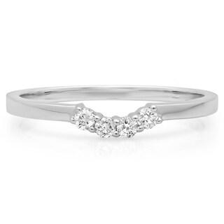 14k White Gold 1/6ct TDW Round Diamond Contour Stackable Wedding Ring Guard (H-I, I1-I2)