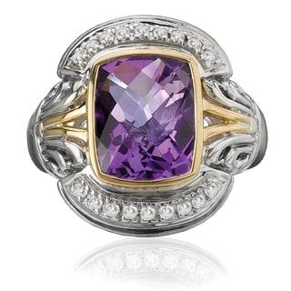 Avanti Palladium Silver and 18k Yellow Gold Amethyst And White Sapphire Ring