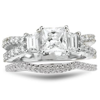 Avanti Rhodium Plated Sterling Silver 2 3/4 TGW CZ Princess Cut Split Shank Bridal Ring Set