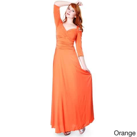 Evanese Women's Slip On Elegant Formal Long Dress w/ 3/4 Sleeves Ball Gown