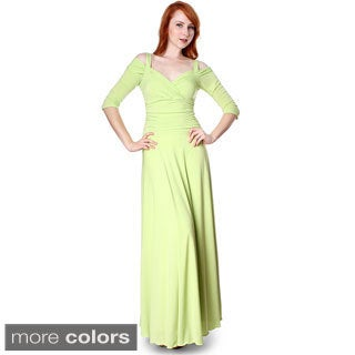 Evanese Women's Slip On Elegant Formal Long Dress w/ 3/4 Sleeves Ball Gown