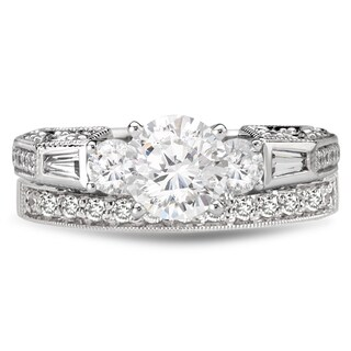 Avanti Rhodium Plated Sterling Silver 2 7/8Ct TGW CZ Round And Baguette Bridal Ring Set (3 options available)