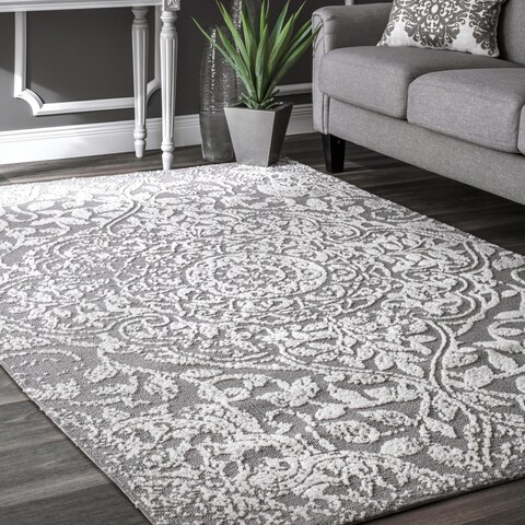 nuLOOM Grey Modern Vintage Fancy Floral Area Rug
