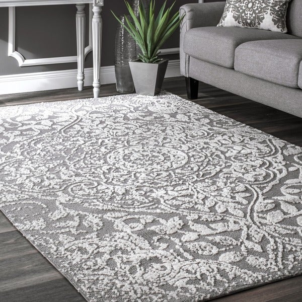 Shop Nuloom Modern Vintage Fancy Floral Grey Rug 5 X 8