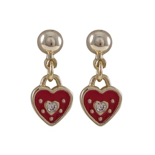 Luxiro Gold Finish Red Enamel and Crystal Heart Girls Earrings