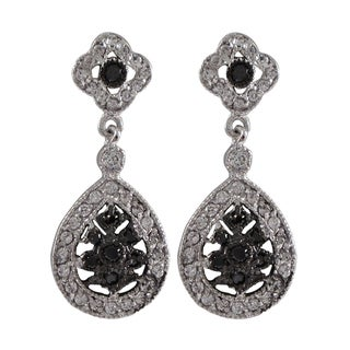 Sterling Silver Cubic Zirconia Clover Teardrop Dangle Earrings