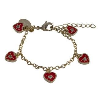 Gold Finish Enamel and Crystal Heart Girls Charm Bracelet