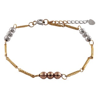 Luxiro Sterling Silver Gold Finish Two-tone Faceted Balls Link Bracelet