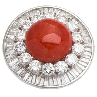 Platinum 7ct TDW Diamond and Coral Estate Cocktail Ring (G-H, VS1-VS2) (Size 6.5)