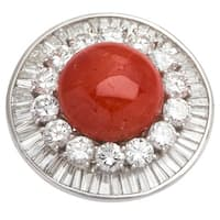 Platinum 7ct TDW Diamond and Coral Estate Cocktail Ring (G-H, VS1-VS2) (Size 6.5)