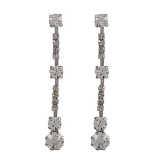 Luxiro Rhodium Finish Round Crystals Long Dangle Earrings
