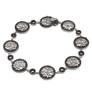 Luxiro Sterling Silver Two-tone Black Cubic Zirconia Filigree Bracelet