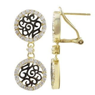 Luxiro Sterling Silver Two-tone Cubic Zirconia Filigree Dangle Earrings