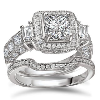 Avanti Rhodium Plated Sterling Silver 4 Ct TGW CZ Princess Cut Halo Bridal Ring Set
