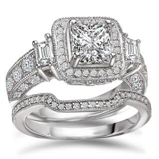 Avanti Rhodium Plated Sterling Silver 4 Ct TGW CZ Princess Cut Halo Bridal Ring Set