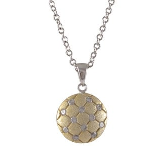 Luxiro Sterling Silver Two-tone Cubic Zirconia Tufted Circle Necklace Pendant