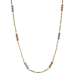 Luxiro Sterling Silver Gold Finish Tri-color Faceted Balls Link Necklace