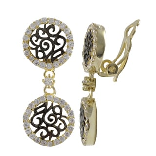 Luxiro Sterling Silver Two-tone Cubic Zirconia Filigree Clip-on Earrings