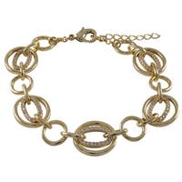 Gold Finish Cubic Zirconia Open Circles Link Bracelet - White