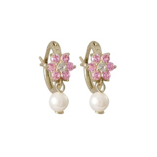 Luxiro Sterling Silver Gold Finish Faux Pearl and Cubic Zirconia Flower Earrings