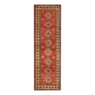 Herat Oriental Afghan Hand-knotted Tribal Vegetable Dye Kazak Wool Runner (3' x 9'8)