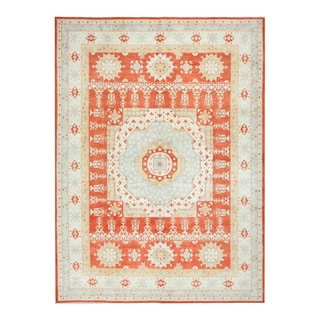 Herat Oriental Afghan Hand-knotted Tribal Vegetable Dye Kazak Orange/ Ivory Wool Rug (9' x 12'1)