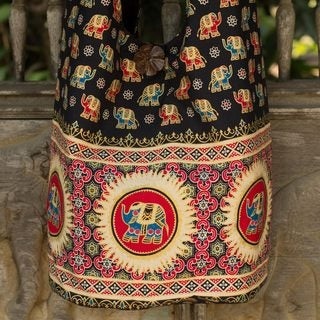 Cotton 'Black Thai Universe' Shoulder Bag (Thailand)