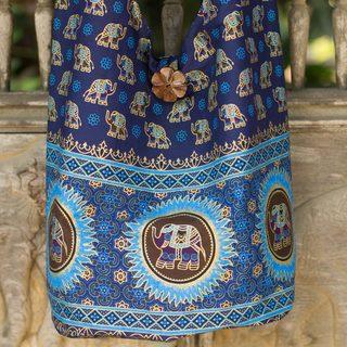 Cotton 'Blue Thai Universe' Shoulder Bag (Thailand)